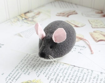 Dark Gray Mouse Stuffed Animal Plush Mouse Fleece Mouse Toy