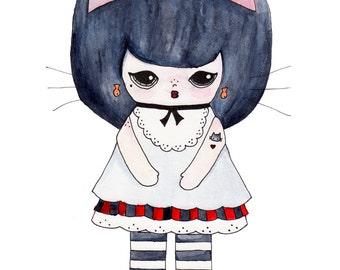 "Kat Gato Illustration Print - 8.5""x11"" or 5""x7"""