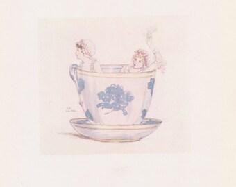 Vintage Kate Greenaway Book Plate Art Print - A Calm in a Tea Cup - circa 1880s