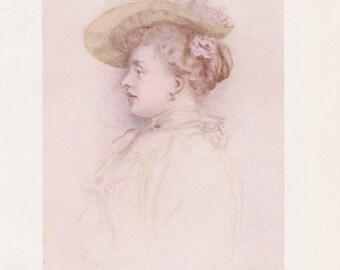 Vintage Kate Greenaway Book Plate Art Print - Portrait of a Lady
