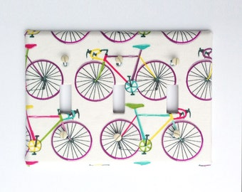 Triple Light Switch Plate Cover, Fabric Covered, wall decor - Cream with Colorful Bikes