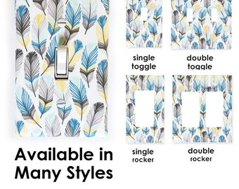 All Styles - Fabric Light Switch Plate Cover - White with Mint, Yellow, Blue, and Grey Feathers