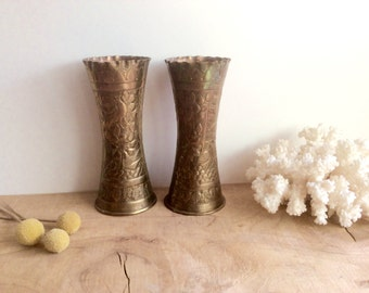 Hammered Brass Vases, Pair of Small India Brass Vases. Decorative Birds, Trees, Leaves, Scalloped Edges. Gold Decor. Bohemian Modern Home.