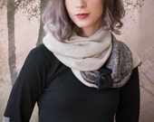 BLACK and OAT infinity scarf. Reversible cowl, multiple styling options. Soft sweater knit circular scarf, denim and button accent.