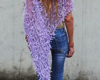 poncho, Lilac Poncho, ribbon, summer poncho