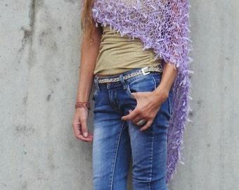 poncho, Lilac Poncho, ribbon, summer poncho loose knit lightweight poncho