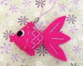 Puffy Felt Pink Goldfish Ornament, Felt Hanging Decoration, Felt Keychain, Felt Toy, Felt Fish, Felt Gold Fish, Cute Gift