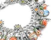 Autumn Bracelet, Thanksgiving Bracelet, Pumpkin Charm Bracelet, Autumn Charm Bracelet, Harvest Bracelet, Pumpkin Jewelry