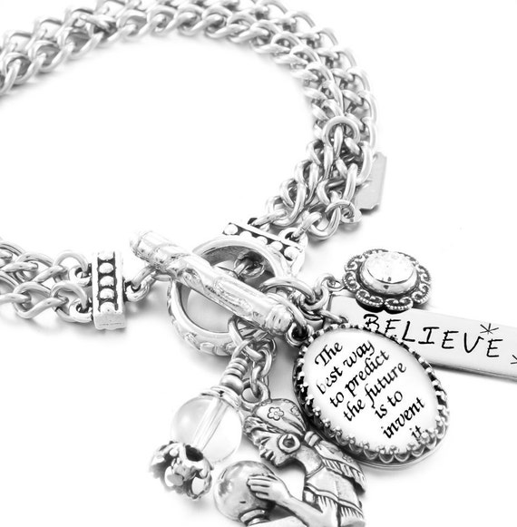 Inspirational Charm Bracelet, Silver Inspirational Jewelry, Stainless Steel Bracelet, The best way to predict the future