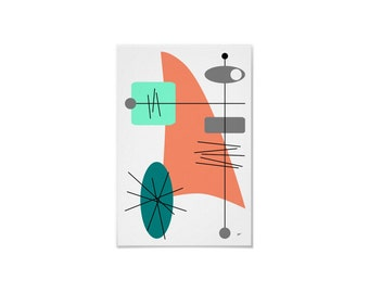 Mercurial Art Print Retro Abstract in Various Sizes & Papers with Free Shipping