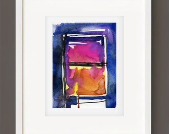 "Abstract Watercolor Painting, Spiritual Art, Original Minimalist Colorful, black blue, purple, ""Magic Window 2"" by Kathy Morton Stanion EBSQ"