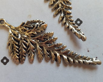 Huge Fern Leaf antiqued silver charms (2)