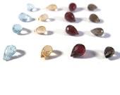 16 Gemstone Beads, Mixed Briolette Lot, Little Lot of Natural Garnet, Citrine, Smoky Quartz & Blue Topaz Beads, 7x5mm (L-Mix1)