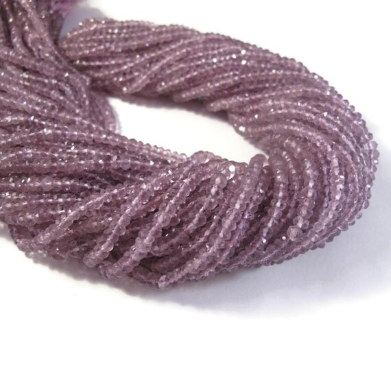 Natural Pink Amethyst Beads, Faceted Rondelles, 2.8mm - 3.2mm, 13 Inch Strand, Rondelle Beads, For Necklace, Jewelry Supplies (R-Am7)