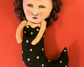 mermaid art doll,sandy mastroni, whimsical, polka dot , wall art,