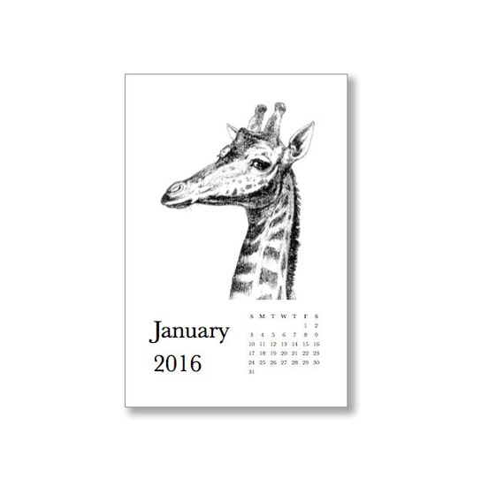 Printable 2016 Calendar. Hoofed Animals.