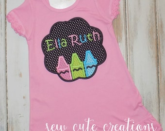 Back to School Dress, Crayon Dres,s First day of School Dress, School outfit, Kindergarten Dress, Preschool dress, sew cute creations