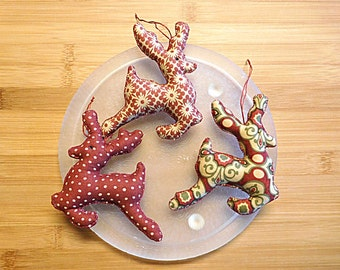 Reindeer in Berry Red and Eggnog Christmas  Ornaments Decorations