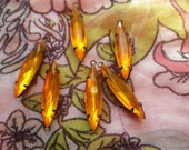 Hyacinth Orange 24X6 Glass Navette Earring Drops 6 Pcs