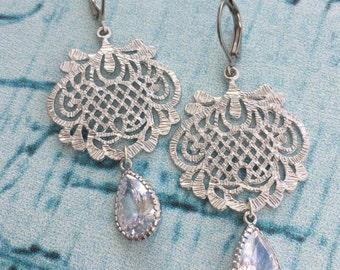 Silver Crystal Scroll Chandelier Earrings