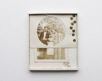 Original Vintage Photo Collage Art in Neutral Tones