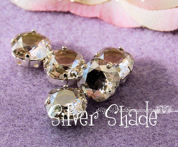 Silver Shade Vintage Swarovski Crystal 10mm Unfoiled Fancy 4470 in a 4-hole Prong Setting Jewelry Supply Swarovski in Setting
