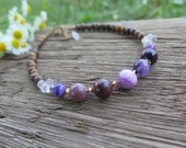 Beaded Stone Anklet - Girly and Earthy with Wood & Purple and a little Sparkle - Gem - Free Spirit Boho Wanderlust - Love Stone Rose Quartz
