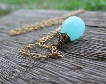 Long Necklace on Brass Chain -Aqua Blue Chalcedony Stone Pendant - Faceted Simple Minimalist - Free Spirit Festival Jewelry - Good Vibes