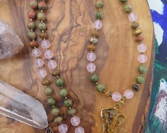 Elephant Necklace - Stone - Green Brown Pink - Earthy Jungle Vibes - Tigerseye - Boho Luxe - Love Stone Crystal Healing Energy - Rose Quartz