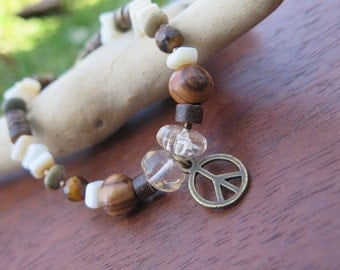 Neutral Peace Bracelet - Brown Beige Pale Yellow  - Earthy Bohemian Jewelry - Free Spirit Gypsy Crystal Boho - Jasper - Natural Earthy
