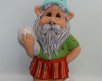 Hippie Gnome - Seashell Gnome - Hippy Beach Gnome - Gnome with Flip Flops - Surfer Gnome - Peace Gnome - Beach Hippy Gnome - Groovy Gnome