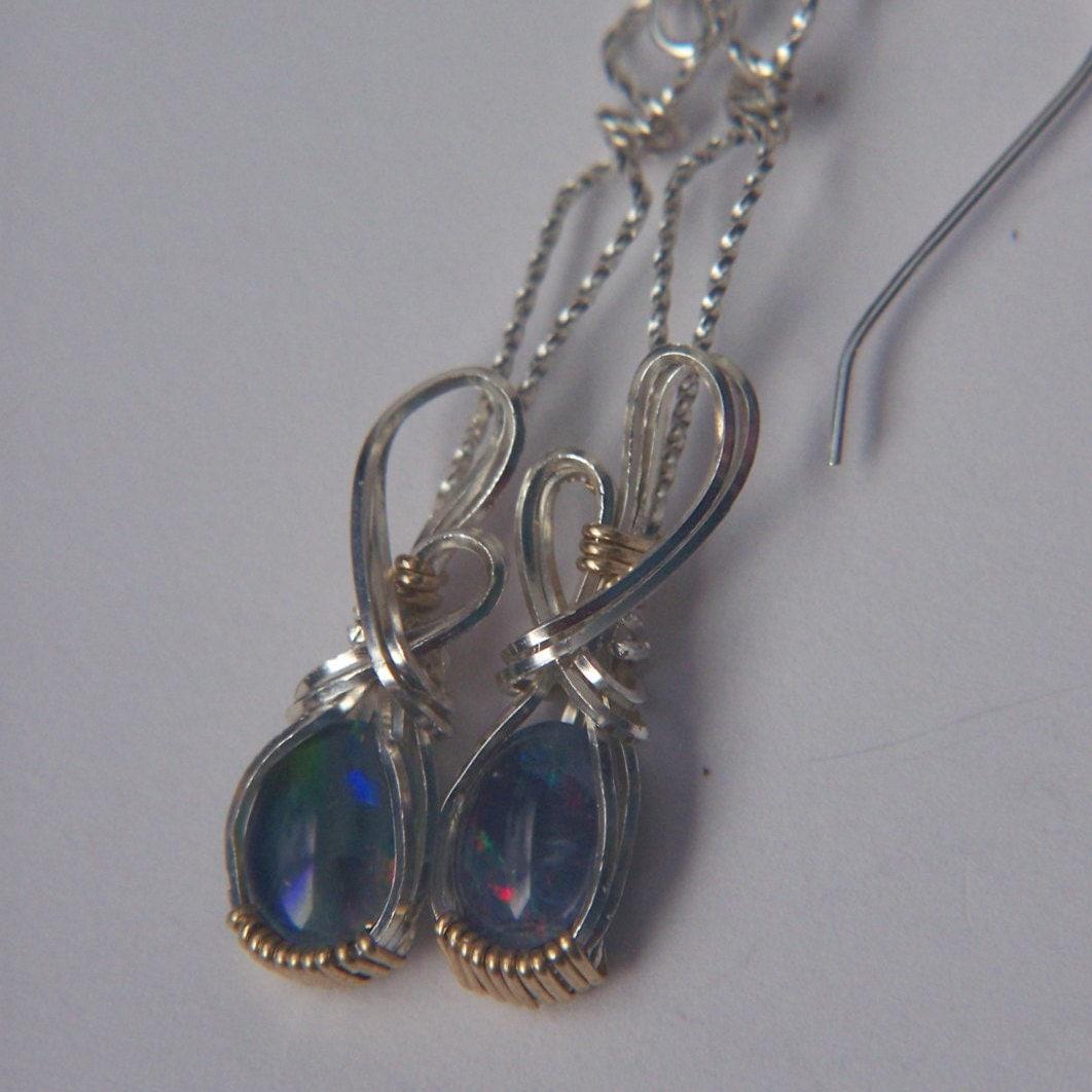 australian opal earrings genuine triplet 2 tone 14kgf