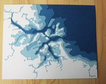 "Boston Harbor - 8 x 10"" layered papercut art"