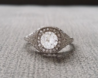 Antique Art Deco Halo White Sapphire Diamond Ballerina Antique Engagement Ring Gemstone Flower Filigree Round 14K White Gold Vintage