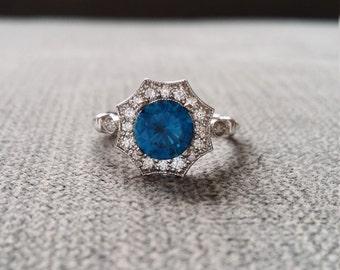 "7mm Version Halo London Blue Topaz Diamond Ring Gemstone Engagement Ring Antique Blue Flower Estate 14K White Gold Vintage ""The Elsa"""