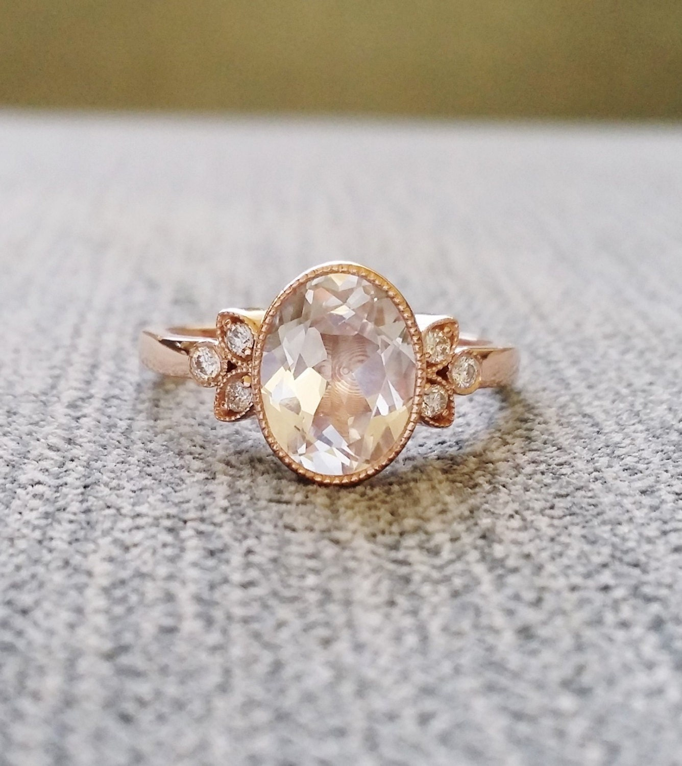 antique white sapphire engagement ring gold