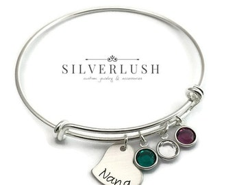 Custom Silver Bangle for Nana or Grandmother with Birthstones