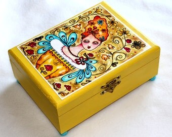 Garden Girl Jewelry Box, Large Size Wood Box, Whimsical Art Box Mexican Style, Decoupage Girl w/ Birds & Flowers, Yellow Turquoise