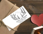 0066 JLMould Custom Personalized Rubber Stamp Featuring Buck Deer Antlers Perfect for Weddings Hunters Return Address