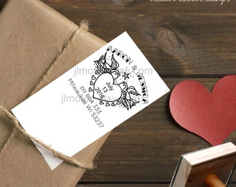 0004 NEW JLMould Sparrow Tattoo Return Address Custom Personalized Rubber Stamp Wedding SavetheDate