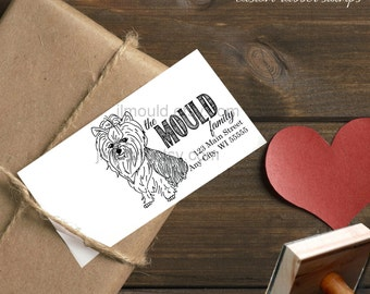 0020 JLMould Custom Personalized Rubber Stamp Return Address Yorkshire Terriers Yorkie Yorkie Dog Stamp
