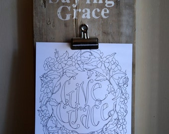 Saying Grace Coloring Poster Pages - Verse - Dinnertime - Kitchen table - prayer
