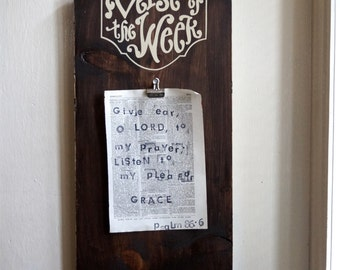 Verse of the Week Clip Board - rustic stained