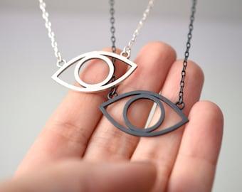 Eye necklace in sterling silver - nickel free evil eye necklace - gothic eye necklace - badass rocker necklace - third eye necklace