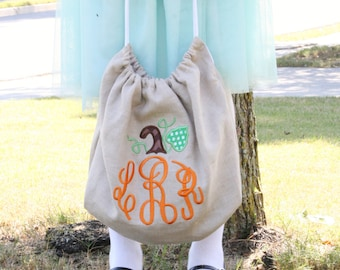 Halloween bag - Handmade - Trick or Treat Bag - Personalized/monogrammed bag - Keepsake Halloween - ORDER by 10/19 for Halloween arrival