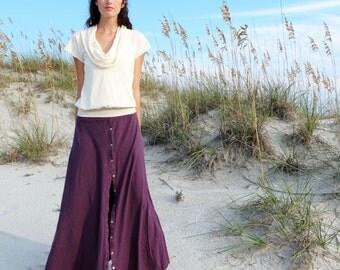 Prarrie Button Up Wanderer Long Skirt - ( llight hemp and organic cotton knit ) - organic maxi skirt