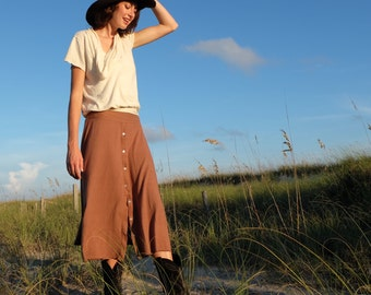 Prarrie Button Up Wanderer Below Knee Skirt - ( light hemp and organic cotton knit )- organic hemp skirt
