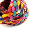 Multi-Color WOVEN leather belt from the 80's