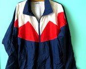 Men's AMERICANA Vintage Cabin Creek Windbreaker // Tall Nylon Jacket // Parachute Jacket // Red White and Blue // Size Large