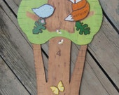 Wood Growth Chart WOODLAND FAMILY TREE - Hand Painted Keepsake -Twins